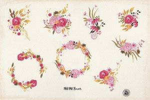 手绘水彩粉红色的花朵剪贴画素材  Pink Pink Flowers插图4
