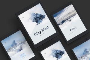 iPad平板电脑UI设计效果图预览等距样机模板 Clay iPad 9.7 Mockup 07插图2