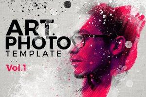 艺术照片智能对象图层PSD模板 Art Photo Template/Mock-up V.1插图1