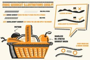 复古木刻印刷绘画风格AI笔刷 Cookbook for Woodcuts – brushes and patterns插图(2)