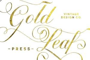 奢华金色叶子纹理图层样式 Gold Leaf Press – Glitter Update插图1