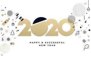 圣诞节&2020年新年主题创意数字矢量插画设计素材v4 New Year 2020 Business Greeting Card插图1