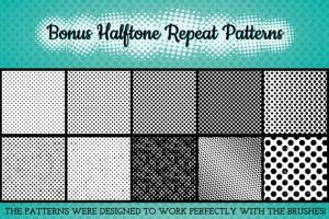 半色调点状/线条AI笔刷 Halftone Brushes + Bonus Patterns插图5