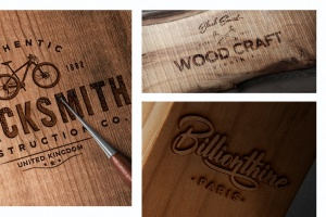 木刻/实木雕刻Logo效果图样机模板 Wood Logo Mockups插图2