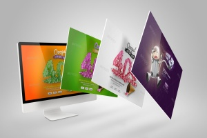 Web设计桌面电脑屏幕演示样机模板 Desktop Mock-Up插图1