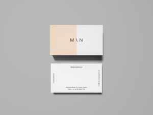企业名片双面设计预览样机 Overhead Business Card Mockup插图1