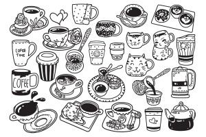 25款咖啡元素涂鸦手绘图案设计素材 Coffee Doodle Vector插图2