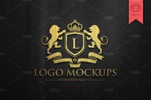 奢华金色&银色风格Logo标志样机v1 Logo Mock-Up V1插图1