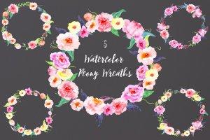 精美水彩牡丹花环插画 Watercolor Peony Wreath插图1