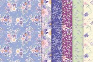 紫色梦幻水彩花卉图案设计素材包 Purple Dreams Watercolor Design Set插图7
