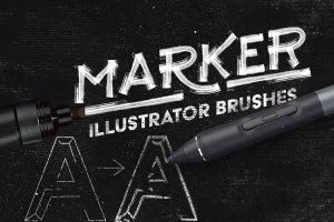 绘画马克笔记号笔AI画笔笔刷 Marker Illustrator Brushes插图(1)