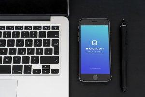 经典旧款黑色iPhone样机PSD模板 Black iPhone Mockups PSDs插图4