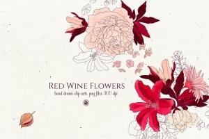 酒红色水彩手绘花卉PNG素材 Red Wine Flowers插图1