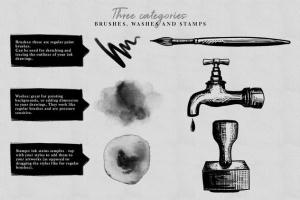 水墨/毛笔/墨水污渍PS笔刷合集 Photoshop Ink Brushes插图2