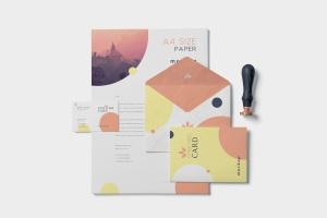 品牌VI体系设计方案办公用品预览图样机模板 5 Stationery Design Mockups插图1