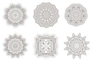 69种曼陀罗花矢量几何图形设计素材包 69 Vector Mandala – All Kinds of Complexity Set插图5