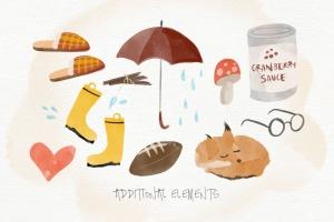 秋天主题水彩手绘图案设计素材包 Autumn Watercolor Kit插图10