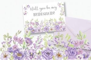 紫色水彩花卉边框&元素剪贴画PNG素材 Purple Watercolor Floral Border Plus Elements插图3