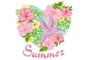 热带花卉与鸟矢量插画素材 Tropical Flowers and Bird插图1