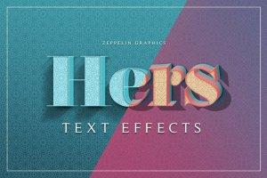 女性柔美色彩3D文本图层样式 Hers 3D Text Effects插图1