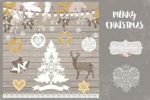 圣诞节主题矢量手绘设计素材 Merry Christmas design插图1