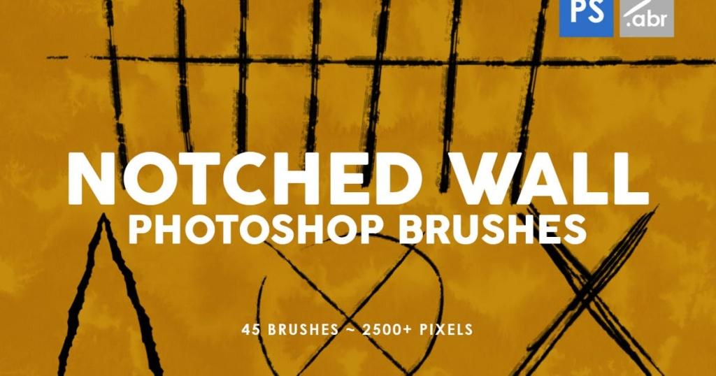 45个缺口墙痕划痕图案PS印章笔刷 45 Notched Wall Photoshop Stamp Brushes插图
