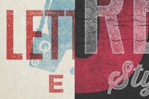 复古活版印刷文本图层样式 Vintage Letterpress Texture Effects插图4