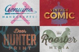 复古活版印刷文本图层样式 Vintage Letterpress Texture Effects插图3