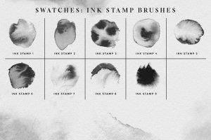 墨水水渍晕染笔刷 Ink Brushes – Photoshop version插图7