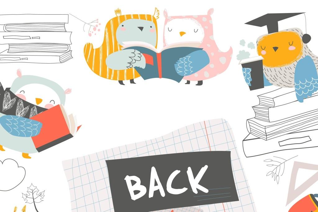 可爱卡通猫头鹰开学季设计矢量插画素材 Vector cute frame composed of cute owls with books插图