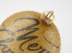 闪闪发光圣诞装饰球样机模板 Glitter Christmas Ball Mockup插图4