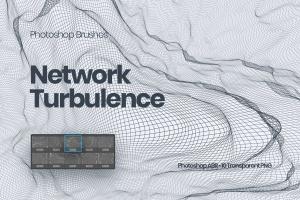 抽象网络信号波纹图案PS笔刷 Network Turbulence Photoshop Brushes插图1