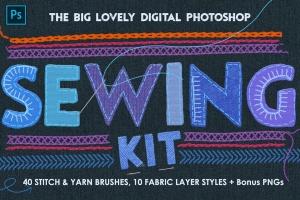 仿真缝纫和刺绣针织效果Photoshop套件 Sewing & Embroidery Photoshop Kit插图1
