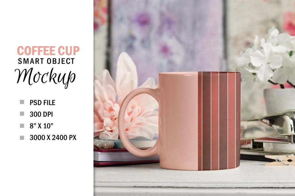 咖啡陶瓷杯定制外观设计PSD样机模板 Pretty Coffee Cup Mug Mockup PSD插图