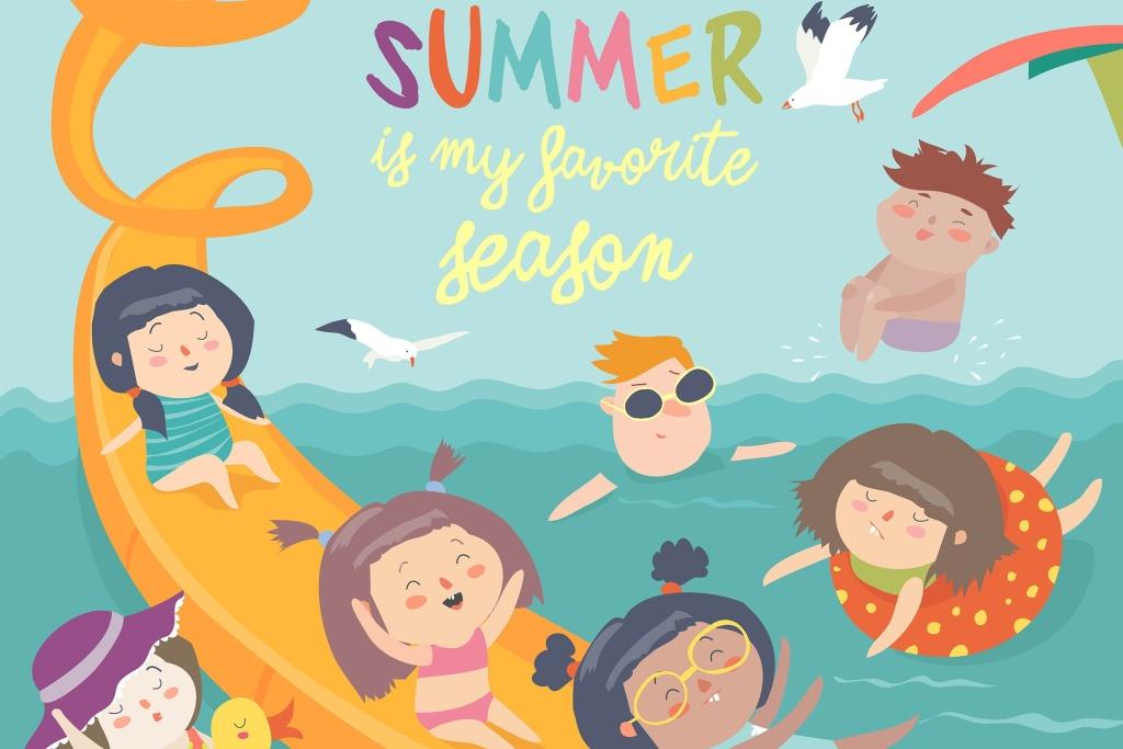 儿童水水乐园主题矢量插画素材 Vector design of kids playing waterpark插图