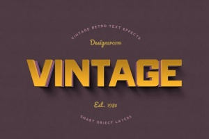 14个复古风格立体特效PS字体样式 14 Vintage Retro Text Effects插图4