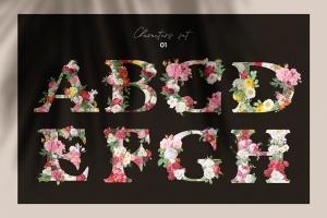 复古风格花卉字母&数字设计PNG素材 Vintage Flower Alphabet插图2
