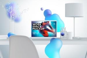 创意工作空间MacBook Pro设计展示样机 workspace desk clay mockup with macbook pro插图2