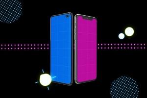 高质量霓虹灯风格iOS/Android手机样机模板 Neon IOS & Android插图9