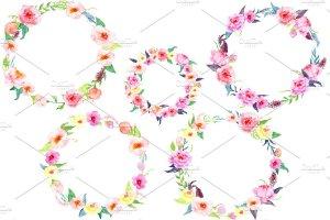 精美水彩牡丹花环插画 Watercolor Peony Wreath插图2