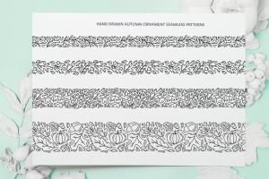 秋季花卉元素手绘线条画矢量插画素材 Monoline vector autumn floral elements插图12