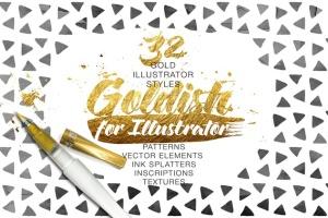 金漆纹理、AI笔刷&图层样式合集 Goldish Kit. For Illustrator+Extras插图2