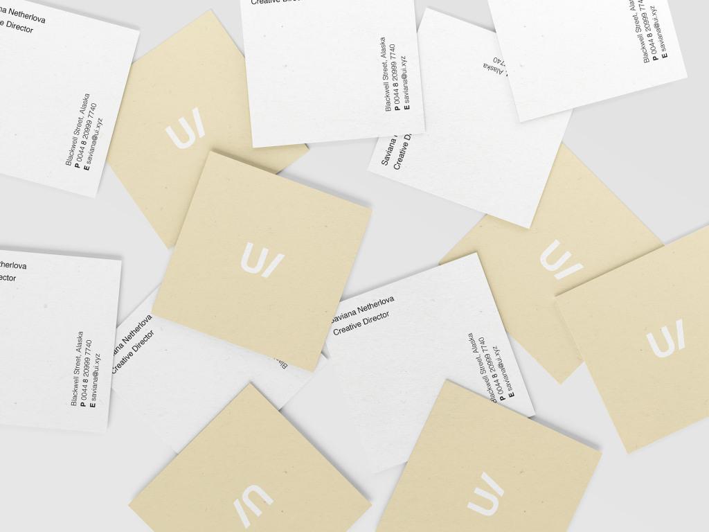 方形企业名片设计堆叠效果图样机PSD模板 Square Business Cards Mockup (PSD)插图