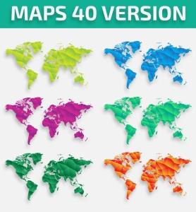 40种设计风格世界地图矢量图形设计素材下载 Map of the world 40 Version插图3