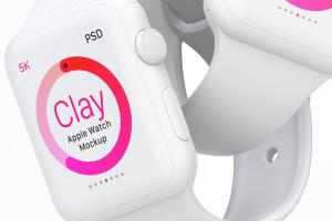 Apple Watch智能手表双屏幕演示样机模板07 Clay Apple Watch Mockup 07插图2