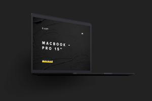 15寸MacBook Pro苹果笔记本电脑屏幕设计效果图预览前左视图样机02 Clay MacBook Pro 15″ with Touch Bar, Front Left View Mockup 02插图4