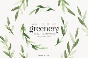 绿色水彩手绘枝叶图案PNG素材 Watercolor greenery插图(1)