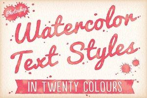 20种水彩文本图层样式 Watercolor Text Styles插图1