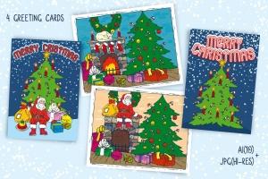 儿童风格圣诞主题矢量手绘设计素材 Christmas Games for Children插图2