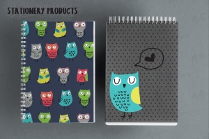 猫头鹰家族水彩手绘图案设计素材 Owls Family插图4